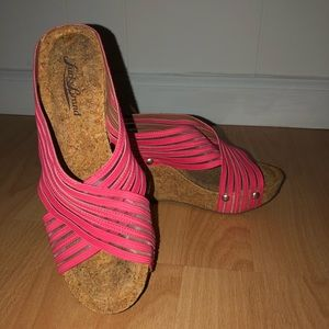 Lucky Brand Pink Mesh Slip On Wedge Sandals